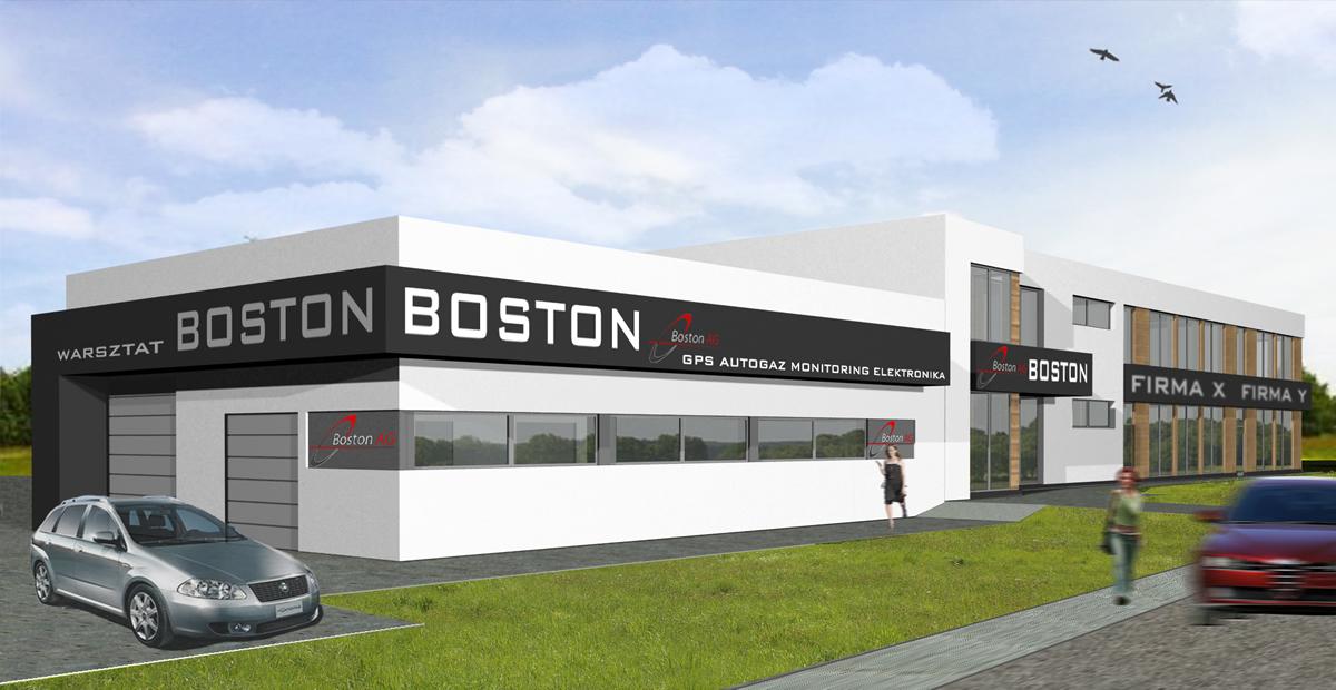 Budynek biurowy z halą magazynową firmy Boston w Gliwicach 2014r.