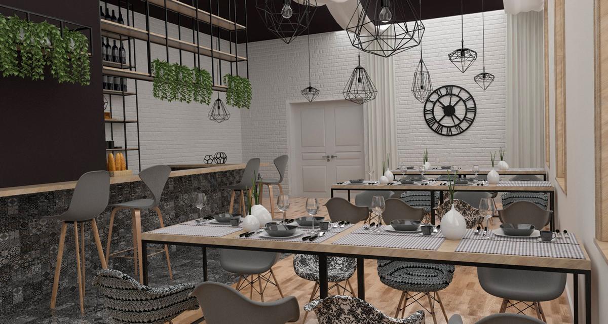 Projekt wnętrz restauracji w teatrze miejskim w Gliwicach 2017r